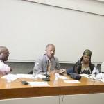 (L-R) Hal Austin, Professor Sir Hilary Beckles,   Esther Stanford-Xosei, Harry Goulbourne. Photo courtesy CaribDirect