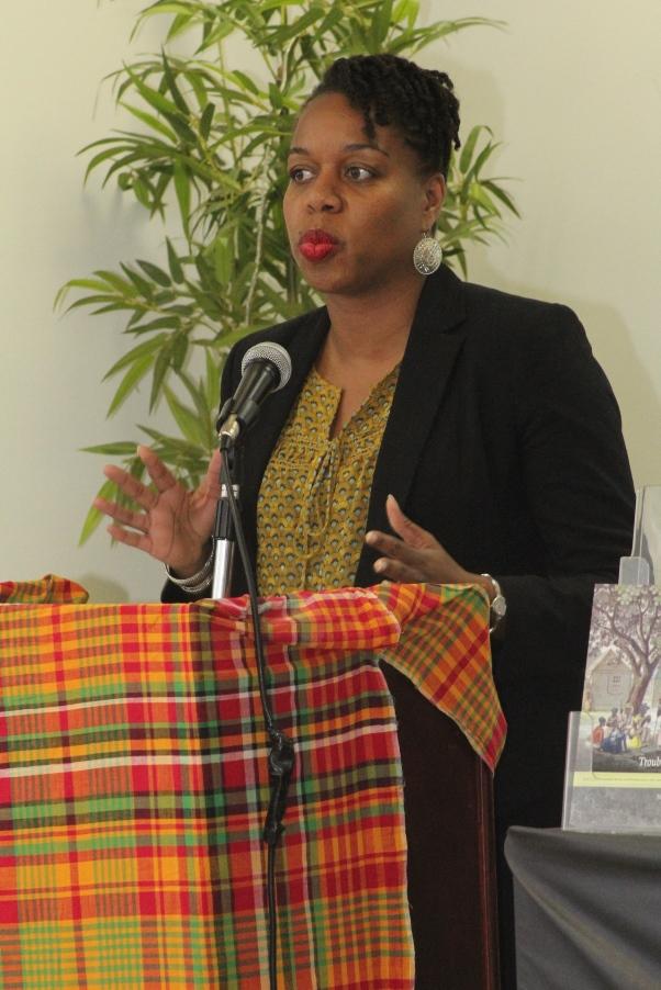 Dr Natasha Lightfoot addresses the audience. Photo courtesy CaribDirect