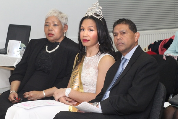 Minister Counselor Althea Banahene-Vanderpoole, Miss Caribbean UK Miss Amy Harris-Willock and High Commissioner for Mauritius in London, Mr Girish Nunkoo. Photo courtesy CaribDirect