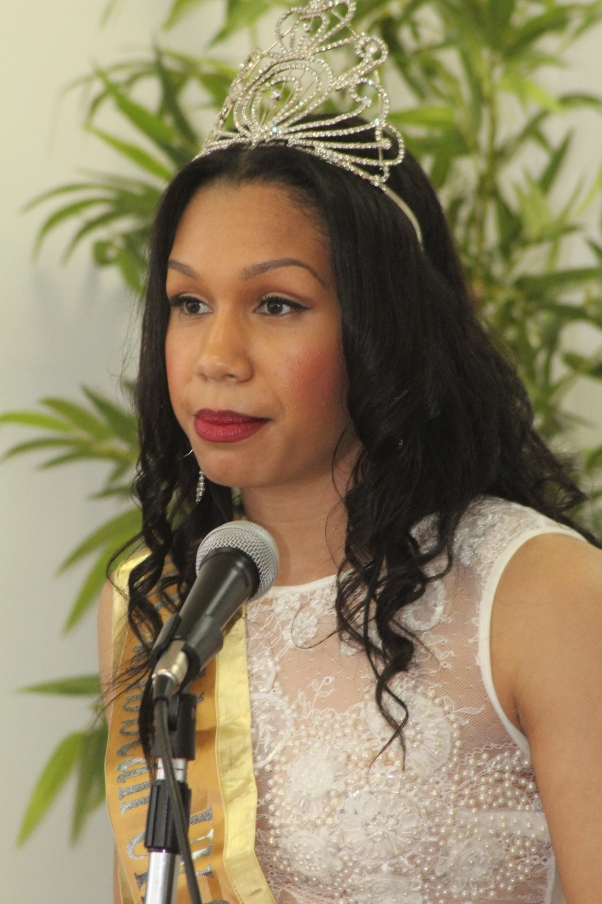 Amy Harris-Willock, Miss Caribbean delivering Vote of Thanks. Photo courtesy CaribDirect