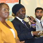 Celebrity chef Levi Roots flanked by Dr Ava Eagle Brown and Vishal Morjaria on the Pitch The Panel forum. Photo courtesy CaribDirect